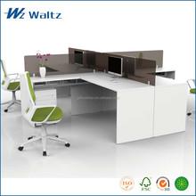 Full melamine panel acrylic partition 4 seat furniture office desk