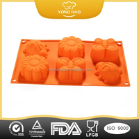 FDA Mixed Colors Silicone insect butterfly cartoon animal shaped silicone cake mold six cake mold YHCM-005
