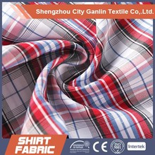 yarn dyed Polyester check/stripe Wholesale shirt fabric