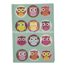 custom cute animal hardcover notebook with colored pages