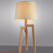 Export selling wholesale modern fashion IKEA solid wood decorative cloth table lamp