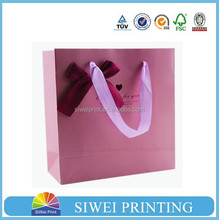 2015 wholesale decorative luxury recyclable hot pink mini gift bags