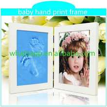 Gift box handprint and footprint for keepsake aluminum with mdf photo frame for picture