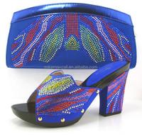 Current High heel Woman matching italian shoe and bag set MS4192 BLUE