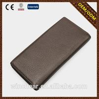 2015 boutique Brown branded quality leather wallet with made in China