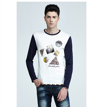 blue and white 100% cotton printing t-shirt full sleeve two color for men