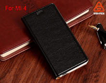 PU Synthetic Plastic Leather Case for Xiaomi 4, for Xiaomi 4 Soft Feel Classic Stand flip Leather case