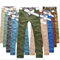 Hot sale mens casual colorful straight pants M- XXL