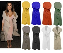 OEM New Womens Ladies Celeb Sleeveless Waterfall Belted Cape Cardigan Long Jacket Top Jacket Coat