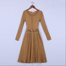 Lady Autumn Winter apricot knitting wear long sleeves woman knit long sweater dress