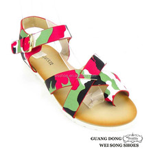 trendy camouflage cross thong flat china 2013 ladies sandals for women