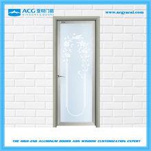 Single leaf double swing door for bathrooms