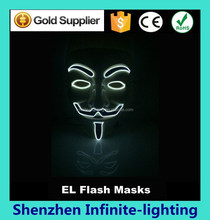Glowing V for Vendetta, Guy Fawkes Glowing mask, Creepy, Scary, Rave Wear, Glow in the Dark Masquerade, led light mask