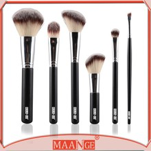 6 Pcs Natural Hair New Designer Beauty Makeup Brush Set With Brush Roll Bag Styling Tools