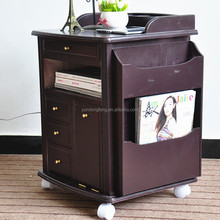 Wooden adjustable bedside table with wheels