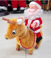 HOT interesting plush Walk music ride a deer Santa Claus YHS23