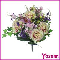 Pink plastic silk artificial rose flower bouquet wedding decoration flower stand centerpieces