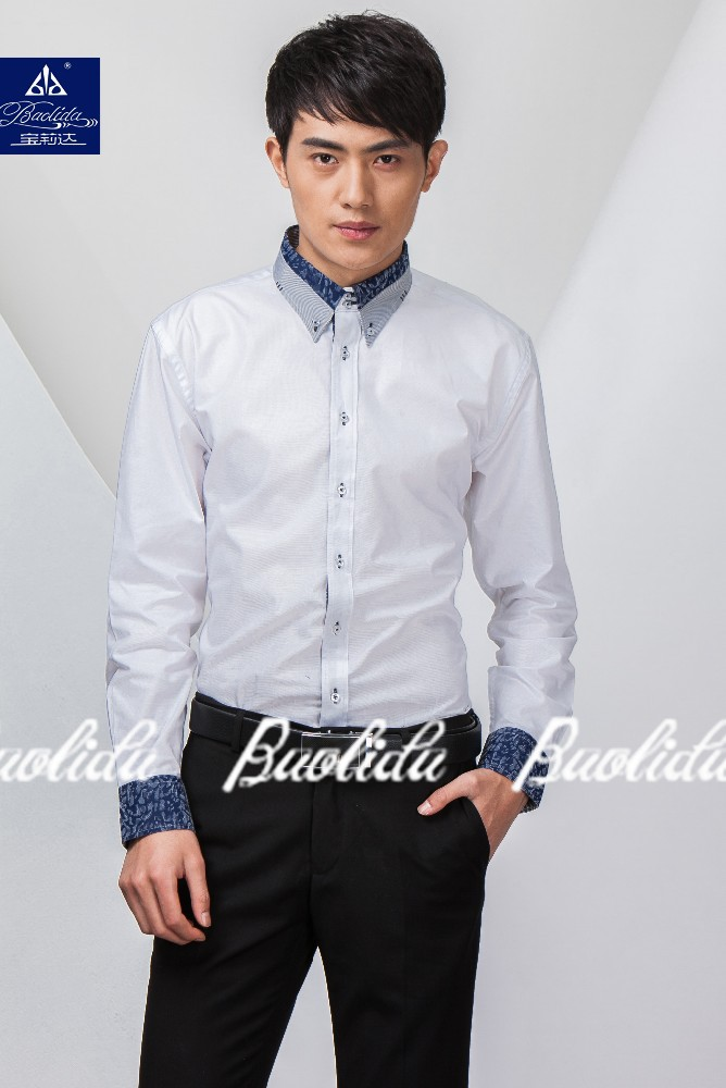 Men 39 S New Stylish Contrast Color Oxford Formal Dress