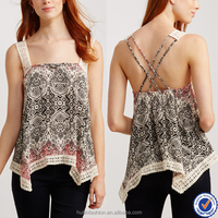 new 2015 indian print tunic tops for women Korean style girls blouses in lace trim