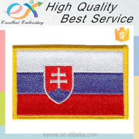 Trade Assurance professionally custom 100% merrowed sew-on Slovakia national flags embroidery patch