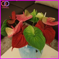 PU artificial plastic anthurium flowers and plants