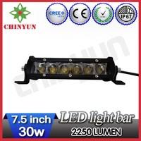 30w 2250lm 7.5inch led off road light bar, 4x4 led work light bar, cree off road led light bar