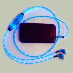 2015 Hot Selling Led Glowing Lighting Earphone with Mic/Glowing Led Earphone for Apple Andorid Smart Phone