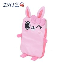 Girls cute leather shockproof tablet pc case laptop cover case with cartoon embroidery and zipper for promotional