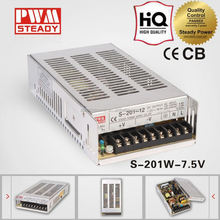 Low price 201w CE approved safe standards capable 7.5v ac dc power supply S-201-7.5 26.5A 201W single output metal case