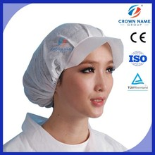 Non Woven White Spunlace Mesh Peaked Bouffant Cap for Food Surgical Industrial Different Field Use