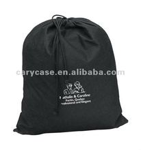 promotional reusable black non woven drawstring pouch bag