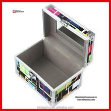 PVC Pattern Cosmetic Jewelry Box Makeup Train Case Lockable Artist Beauty Bag