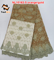 Orange/gold African tulle lace fabric for girl dress NL10163