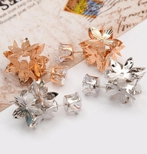 Compact scales type hollow diamond earrings zircon crown jewelry for lady