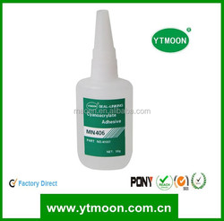 Leather to metal cyanoacrylate adhesive with good strength