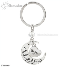 Custom Engraved Metal Keychain Personalized Name Heart And Moon KeyChain