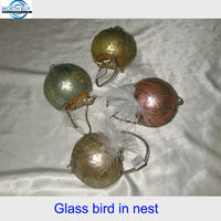 Vintage Christmas glass bird in nest from China factory