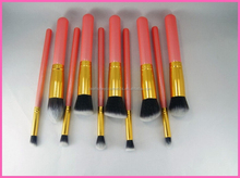 New brand 10 pcs hot selling pro makeup brush set with wooden handle fashionable makeup brushes