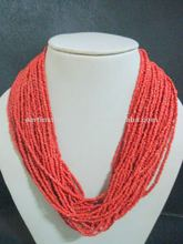 Red Coral fashion jewellery beaded necklace