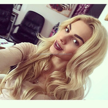 Celebrity wig blonde natural wave real human hair full lace wig