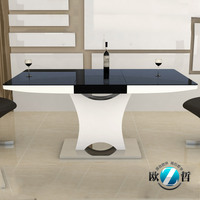 Retractable dining table 10 seater black & white with stainless steel dining table legs