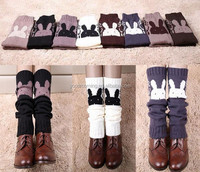 knit slouchy open button down leg warmers rabbit boot cuff
