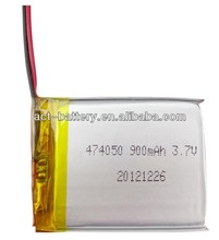 Manufacture rechargeable 3.7v 900mah lithium polymer lipo battery 474050