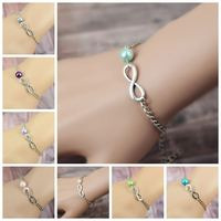 Cheap-fine Personalized Infinity Charm Glass Pearl Chain Bracelet Sister Friendship Bridesmaid Gift Fashion Jewelry For Women