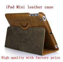 for ipad mini case smart genuine leather case (Shenzhen factory and Paypal acceptable)