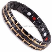 mens stainless steel bio magnetic bracelet with 4 in 1 bio energy germanium elements
