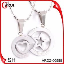 fashion jewellery spain boy and girl pendant necklace hip hop necklace pendant pentagram pendant heart charms