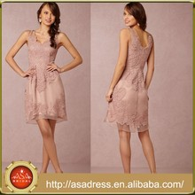 BD62 Exquisite Champagne Girl Bridesmaid Dresses Sleeveles Knee Length Lace Appliqued Maid of Honor Dresses for Weddings