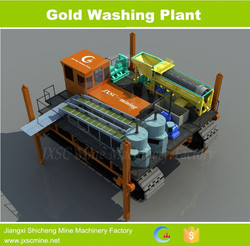 Amphibious gold washing plant