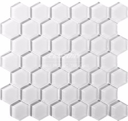 century glossy glass hexagon mosaic tile white color glossy home depot